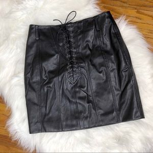 Nasty Gal Faux Leather Skirt Black